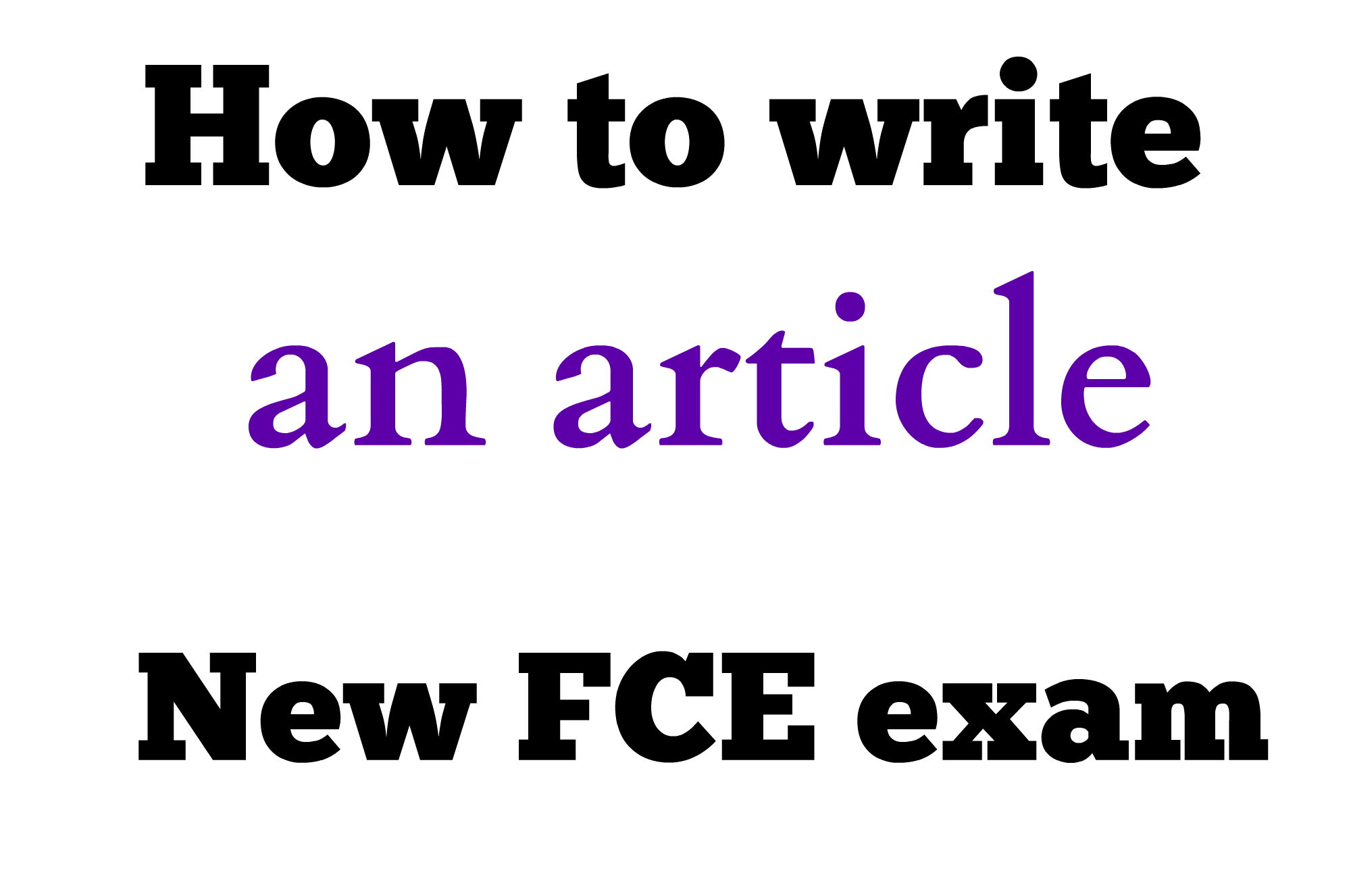 How to write a article